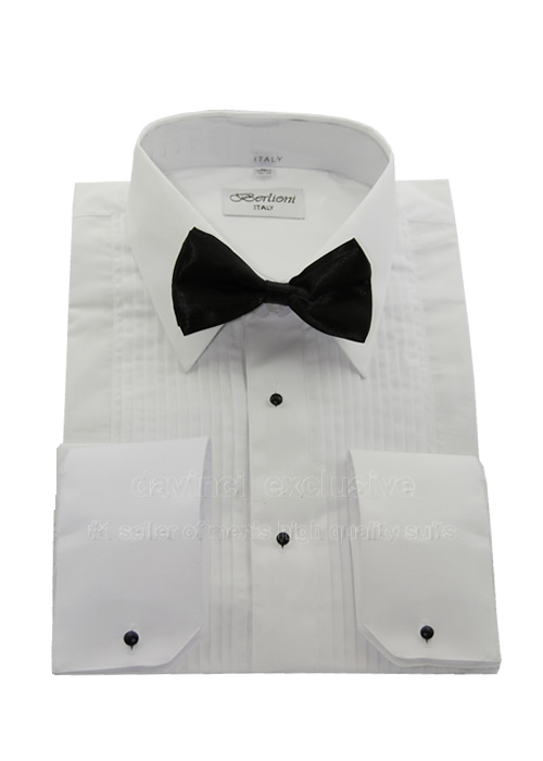 b24140943d92 Details about Berlioni Mens Tuxedo Shirt Point Collar + Free Bow Tie  Convertible French Cuff