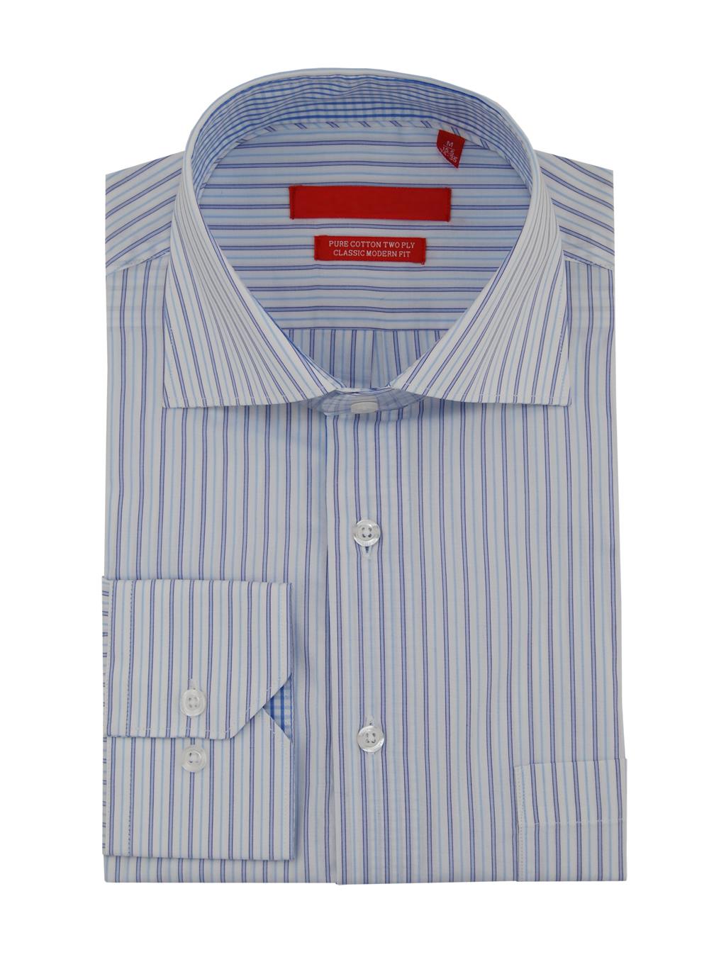 Dti Gv Executive Mens Striped Dress Shirt Cotton Spread Collar