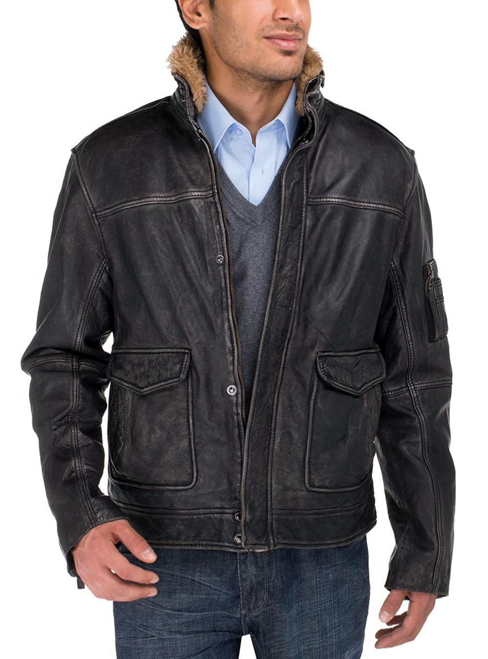 af7069f7d Details about Luciano Natazzi Mens Trim Fit Buff Rub Heritage Flight  Leather Jacket
